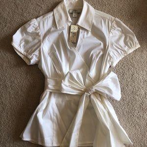 Ann Taylor Loft Tie-Around-Waist White Blouse